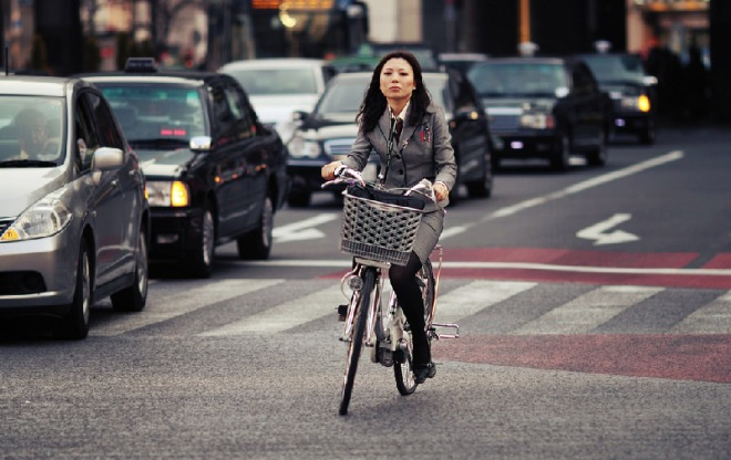Japanese-woman-on-bike