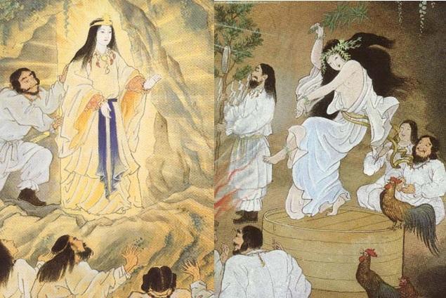 Amaterasu bước ra khỏi Thiên Nham Cung khi nghe thấy tiếng huyên náo từ điệu nhảy của Nữ thần Uzume